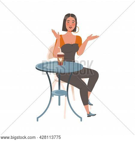 Female Sitting At Table In Cafe, Drinking Coffee And Gossiping Vector Illustration
