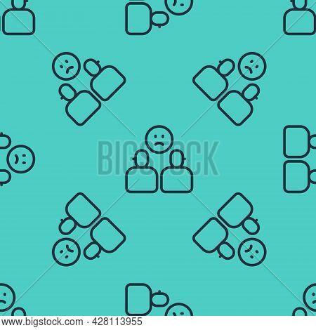 Black Line Complicated Relationship Icon Isolated Seamless Pattern On Green Background. Bad Communic