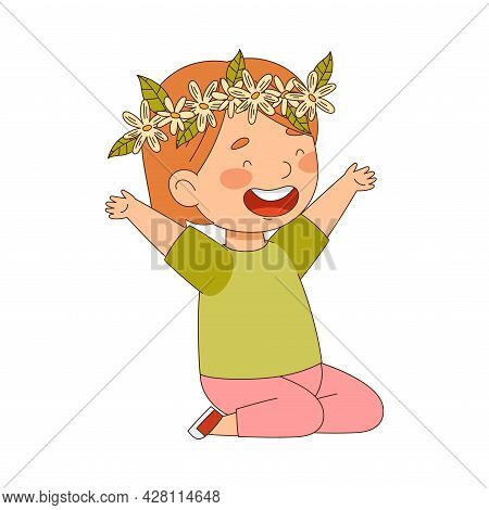 Cheerful Redhead Girl With Flower Wreath On Her Head Raised Her Hands With Joy Vector Illustration