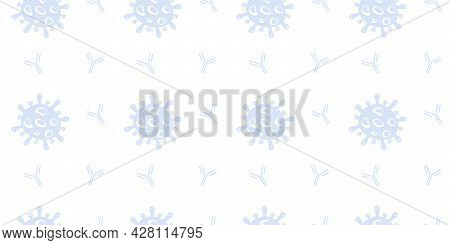 Seamless Pattern With Covid Antibodies Test Sign. Medical Symbol Of Virus Antibody. Repeated Backgro