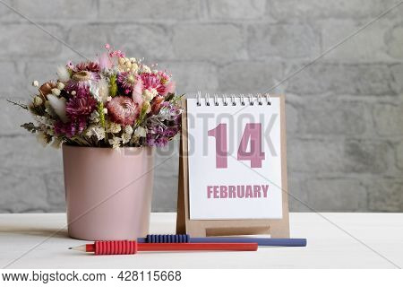 February 14. 14-th Day Of The Month, Calendar Date.a Delicate Bouquet Of Flowers In A Pink Vase, Two