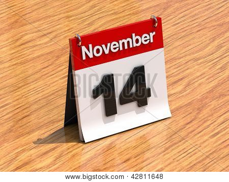 Calendar On Desk - November 14Th