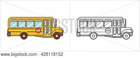 School Bus Coloring Book. Yellow School Bus