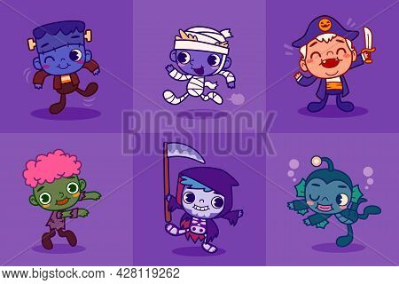 Set Of Funny And Cute Kids In Halloween Mascot Costume Illustration. Children Dancing In Cute Hallow