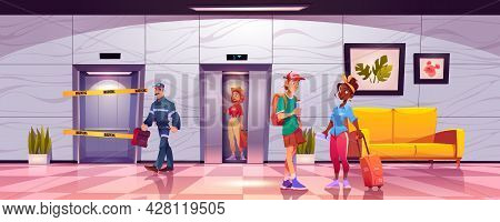 Tourists In Hotel Hallway With Broken Lift And Repairman With Instruments Ready To Fix Breakage. Tra