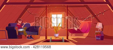Young Woman At Home Attic Writing Notes In Notepad. Thoughtful Girl Compose Verses Or Put Memoirs In