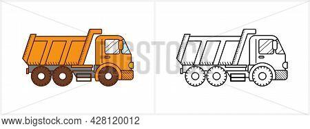 Dump Truck Coloring Page. Dumper Truck Side View