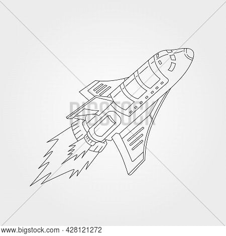 Line Art Spaceship Shuttle Vector Symbol Illustration Design, Spaceship Sketch Vector Design