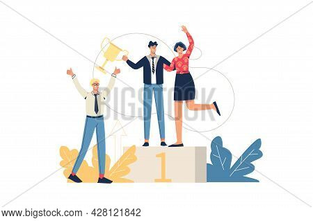 Business Success Web Concept. Employees Celebrate Victory, Reach First Place And Receive Trophy. Tea