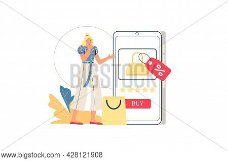 Online Shopping Web Concept. Woman Buys In Mobile Application, Chooses Goods, Buys Profitably With D