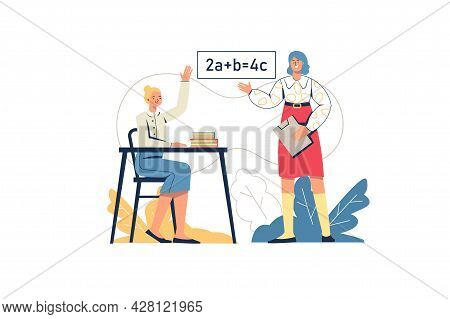 School Learning Web Concept. Schoolgirl Answers In Lesson, Teacher Teaches Subject. Student At Exam.