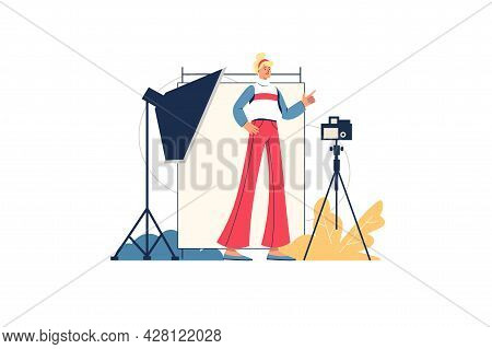 Photo Studio Web Concept. Photographer Takes Photographs In Room With Special Lighting And Equipment