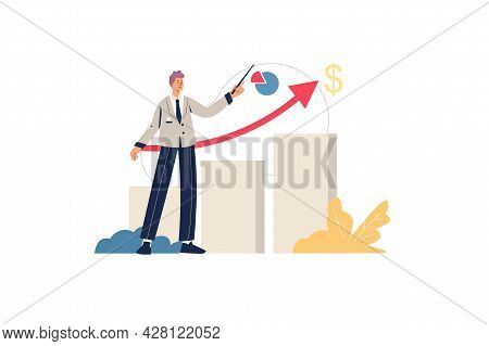 Sales Performance Web Concept. Male Marketer Shows Profit Growth, Successful Business Development, A