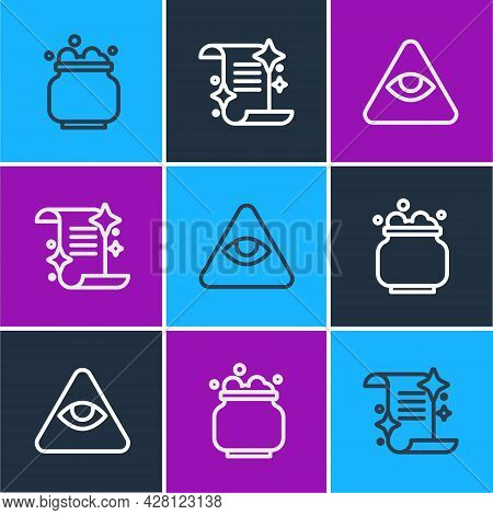 Set Line Witch Cauldron, Masons And Ancient Magic Book Icon. Vector