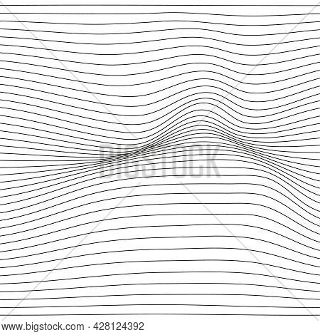 Distorted Wave Monochrome Texture. Abstract Dynamical Rippled Surface. Vector Stripe Deformation Bac