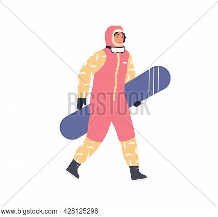 Female Snowboarder Walking With Snowboard In Hand. Person Going In Winter Equipment And Holding Snow