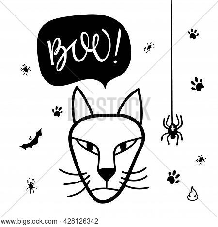 Halloween Cat. Boo Lettering On Speech Bubble, Witches Cat, Spiders. Black Cat Face Head Silhouette