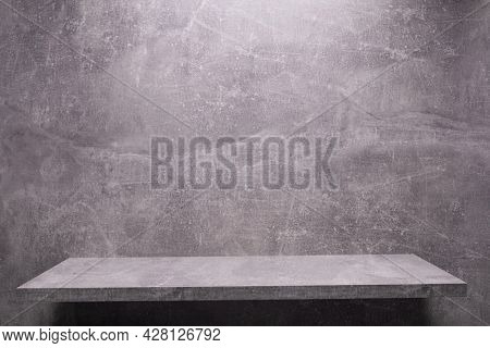 Abstract grey stone background texture and shelf at wall. Book shelf at wall background surface