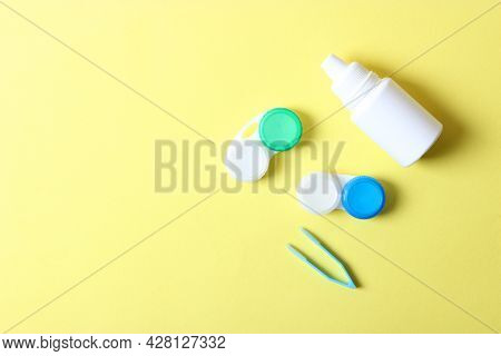 Lenses For Vision Correction And Accessories For Lenses On A Colored Background,