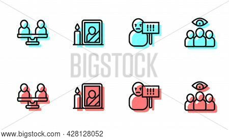 Set Line Protest, Gender Equality, Mourning Photo Frame And Spy, Agent Icon. Vector