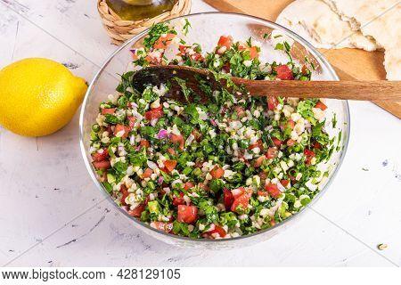 Cooking Oriental Summer Arabic Vegetarian Bulgur Salad Tabouleh. Mixed Bulgur, Chopped Tomato, Onion