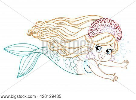 Cute Little Mermaid Girl In Coral Tiara Floats Forward Colored Outlined For Coloring Page On A White