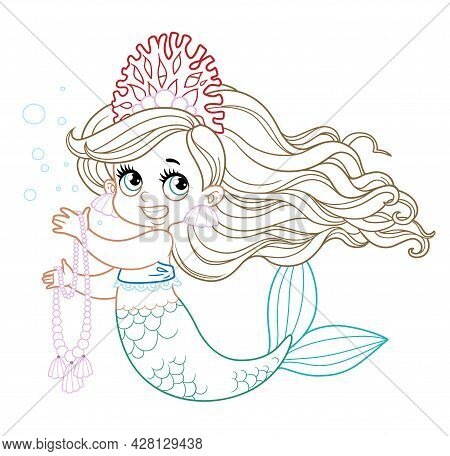 Cute Little Mermaid Girl In Coral Tiara Hold A Long Pearl Necklace Colored Outlined For Coloring Pag