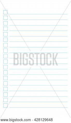 Graph Paper. Printable To Do List With Check Boxes, Checklist, Grid Paper With Color Horizontal Line