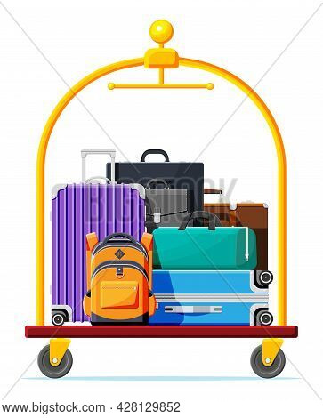 Hotel Luggage Cart With Briefcase, Backpack And Suitcase. Hotel Baggage Trolley Full Of Bags Isolate