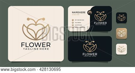 Minimalist Beauty Monogram Love Flower Logo Design Elements With Business Card. Logo Can Be Used For