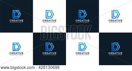 Set Of Gradient Elegant Company Typography Letter D Logo Design. Logo Can Be Used For Icon, Brand, I