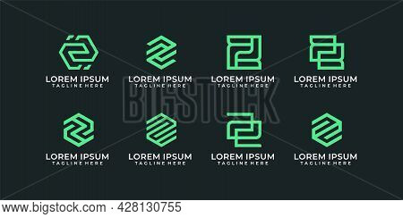 Set Of Creative Minimal Monogram Corporate Letter Z Logo Vector Graphic. Logo Can Be Used For Icon,