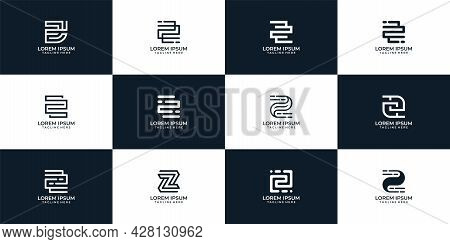 Modern Geometric Inspirational Letter Z Logo Vector Design Collection. Logo Can Be Used For Icon, Br