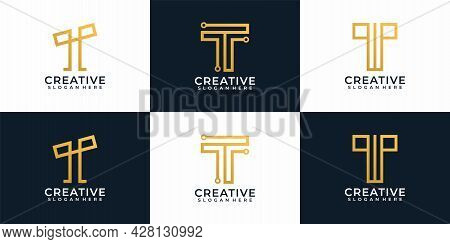 Digital Elegant Modern Letter T Logo Design Collection. Logo Can Be Used For Icon, Brand, Identity,
