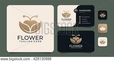 Gold Feminine Flower Plant Logo Design For Salon Spa Shop. Logo Can Be Used For Icon, Brand, Identit