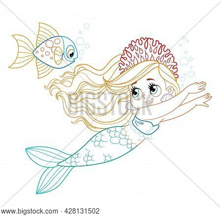 Cute Little Mermaid Girl In Coral Tiara Swims Racing Colored Outlined For Coloring Page On A White B