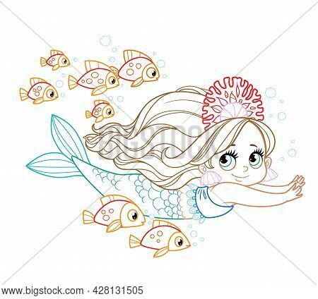 Cute Little Mermaid Girl In Coral Tiara Swims With A Flock Of Fish Colored Outlined For Coloring Pag