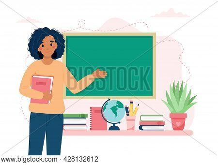 Happy Teacher S Day Concept. Black Female Teacher In Classroom. School And Learning. Cute Vector Ill