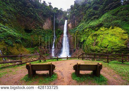 Empty Benches At The Catarata Del Toro Waterfall In Costa Rica