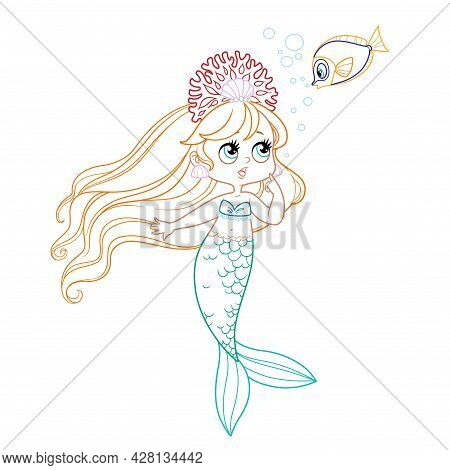 Cute Little Mermaid Girl In Coral Tiara Speaks With Fish Colored Outlined For Coloring Page On A Whi