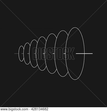 Retrofuturistic Plane Circles With One Axis. Cyber Retro Design Element. Circle Flatness In Cyberpun