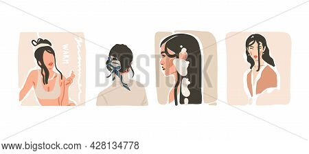 Hand Drawn Vector Abstract Stock Flat Graphic Contemporary Aesthetic Fashion Illustrations Collectio