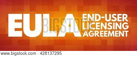 Eula - End User Licensing Agreement Acronym, Technology Concept Background