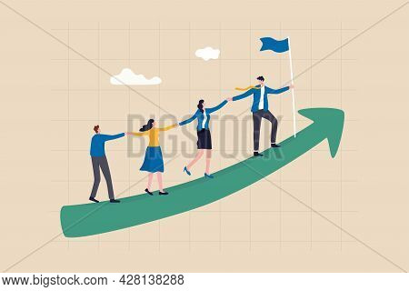 Teamwork Cooperate Together To Achieve Target, Leadership To Build Team Walking Up Rising Growth Arr