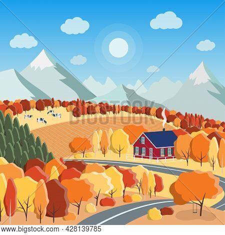Autumn Nature Landscape Concept In Bright Autumn Colors With Farm Field, Cows, Mountains, Colorful F