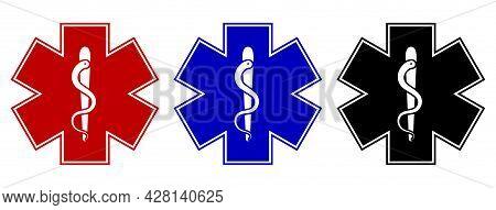 Set Of Medical Star Symbol In Three Color Variations: Red, Blue And Black. Vector Illustration