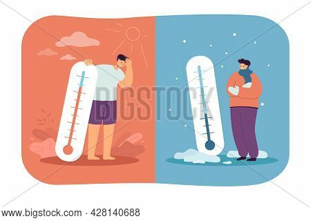 Men In Cold And Hot Weather Flat Vector Illustration. Frozen And Sweating People Standing With Therm