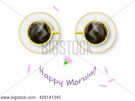 Two Coffee Cups Formed To Happy Smiling Face, Happy Breakfast Concept  Vector Illustration