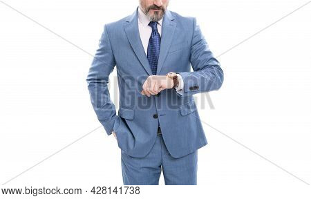 Cropped Businessman With Grizzled Hair In Suit Check Time On Watch Isolated On White, Time