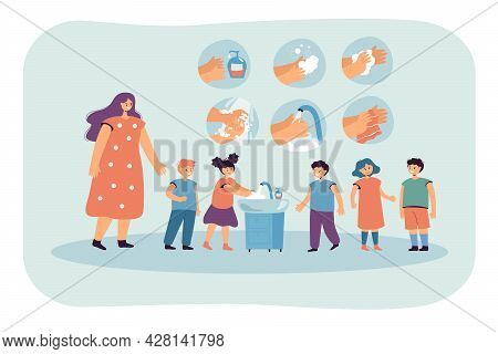 Kids Washing Hands Flat Vector Illustration. Woman Teaching Children To Wash Their Hands Thoroughly